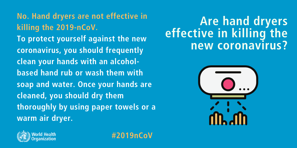 Are hand dryers effective in killing the new coronavirus?
