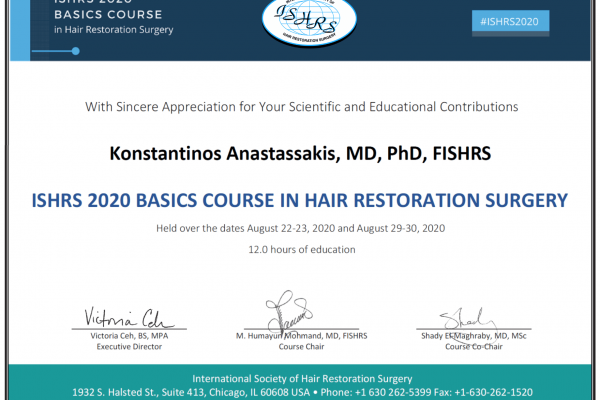 ishrs 2020 basics course in hair restoration surgery dr anastassakis